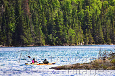Kayaking in The Lake Superior National Marine Conservation Area of the Slate Islands. Terrace Bay, Ontario, Canada